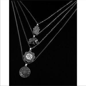 Jewelry - Boho Elephant Hand Constellation Pendant Necklace.